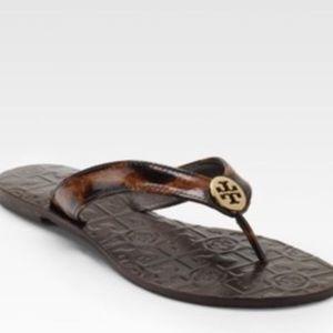 Tory Burch Leopard Print Patent Leather Sandals 8